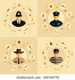 vector security icon, police background, law, crime badge set illustration