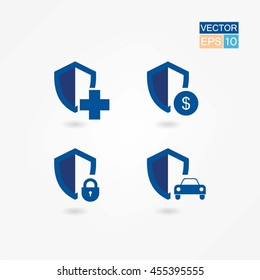 Vector security shield icon set.