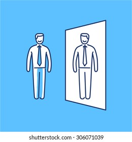 Vector self awareness skills icon of businessman standing in front of the mirror | modern flat design soft skills linear illustration and infographic on blue background