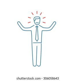 Vector self confidence skills icon of happy businessman with hands up | modern flat design soft skills linear illustration and infographic red and blue on white background