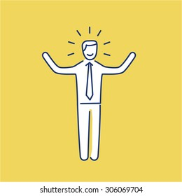 Vector self confidence skills icon of happy businessman with hands up | modern flat design soft skills linear illustration and infographic on yellow background
