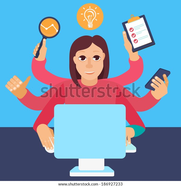 Vector self employment concept in flat style - multitasking woman working on different projects from her home office