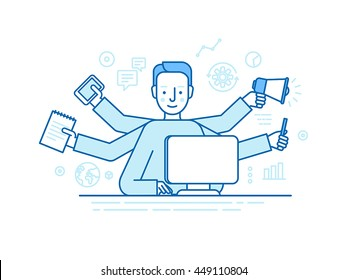Vector self employment concept in trendy flat linear style - multitasking freelancer - man working on different projects from his home office - jack of all trades concept