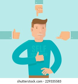 Vector self promotion concept in flat style - man showing like sign and business hands pointing at him