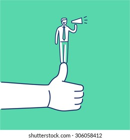 Vector self promotion skills icon of businessman staying on the top of the thumb up | modern flat design soft skills linear illustration and infographic on green background