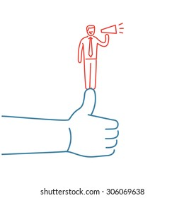 Vector self promotion skills icon of businessman staying on the top of the thumb up | modern flat design soft skills linear illustration and infographic red and blue on white background