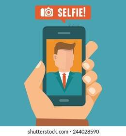 Vector selfie concept - flat character taking selfie by mobile phone - new technology concept
