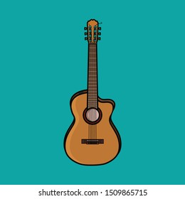 Vector Semi Acoustic Guitar in blue background.