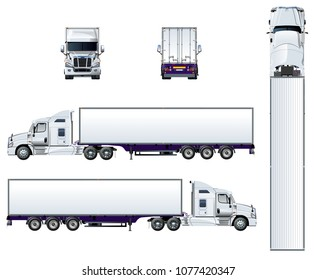 Vector semi truck template isolated on white. Available EPS-10 separated by groups and layers for easy edit