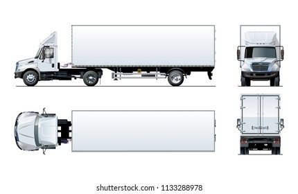 Vector semi truck template isolated on white for car branding and advertising. Available EPS-10 separated by groups and layers with transparency effects for one-click repaint.