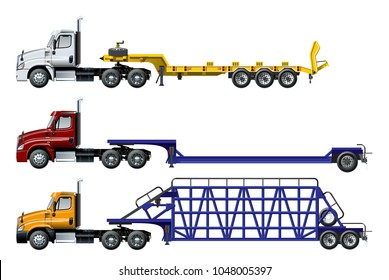 Vector semi trucks set isolated on white. Available EPS-10 separated by groups and layers with transparency effects