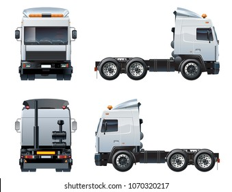 Vector semi-truck template isolated on white. Available EPS-10 separated by groups and layers with transparency effects for one-click repaint