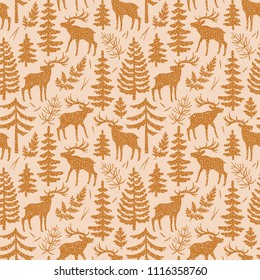 Vector semless pattern with silhouttes of deer, trees and branches. Forest repeated texture with elegant animals and floral elements. Natural background with elks.