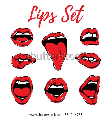 vector sensual woman lips set beautiful stock vector royalty free rh shutterstock com Vector Face Nose Vector