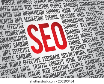 Vector SEO business background, search engine optimazion, concept word cloud