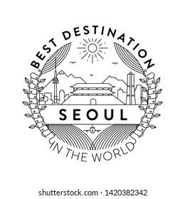 Vector Seoul City Badge, Linear Style