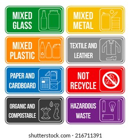 vector separate collection of waste labels set