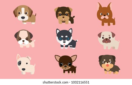 Vector series about cute puppies poodles, Siberian Husky, bull terriers and other breeds