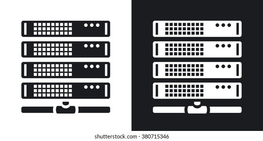 Vector server icon. Two-tone version on black and white background