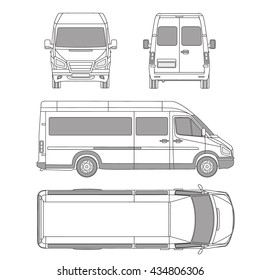 Vector service car template. commercial vehicle - delivery van.