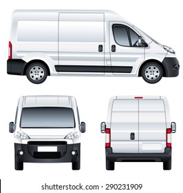 Vector service car template. White blank commercial vehicle - delivery van. (simple gradients only, no gradient mesh)