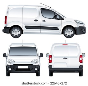Vector service car. White blank commercial vehicle - delivery van. (simple gradients only, no gradient mesh)