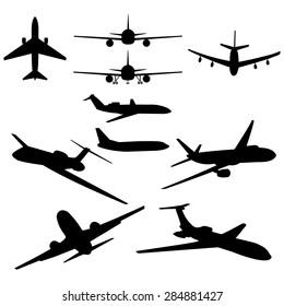 Vector Set of 10 Black Plane Silhouette