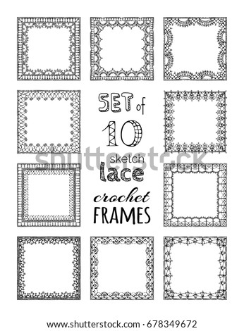 Vector Set 10 Lace Crochet Square Stock Vector Royalty Free