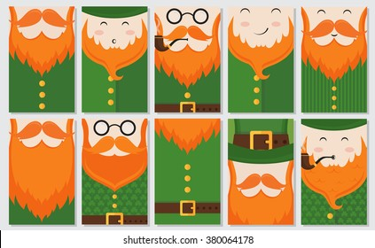 Vector set of 10 modern flat card design with Saint Patrick's Day symbols -; leprechauns; green hat; green suit with clover texture; red beard; smoking pipe. Vector holiday badge design.