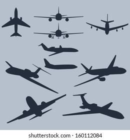 Vector Set of 10 Plane Silhouette