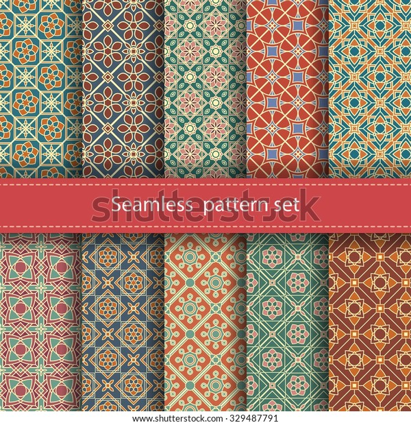 Vector set of 10 seamless mosaic patterns. Arabic tile texture with geometric ornament. Decorative and design elements for textile, book covers, manufacturing, wallpapers, print, gift wrap.