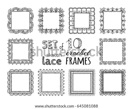 Vector Set 10 Sketch Lace Crochet Stock Vector Royalty Free