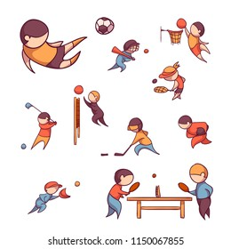 Vector set of 10 sports, such us football, tennis and etc