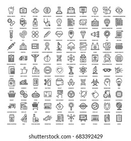 Vector set of 100 flat line web icons on following themes - healthcare and medicine, digital marketing, shopping and retail, research and science