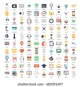 Vector set of 100 flat web icons on following themes - SEO and development, business and finance, shopping and commerce, education and knowledge