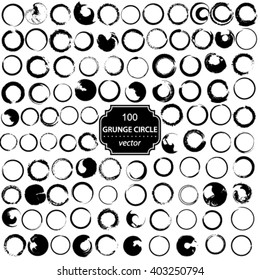 Vector set of 100 grunge circle brush strokes for frames.