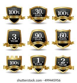 Vector set of 100 % guarantee golden shield labels