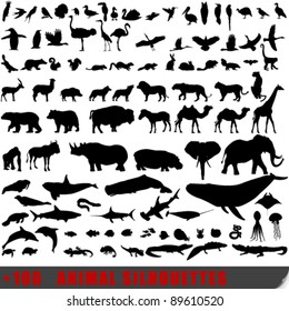 Vector set of 100 very detailed animal silhouettes