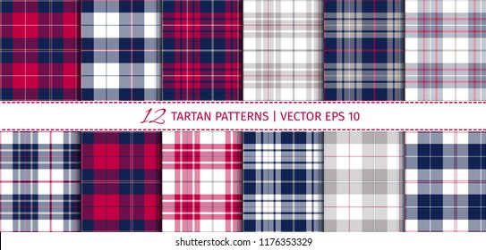 Vector set of 12 tartan patterns.