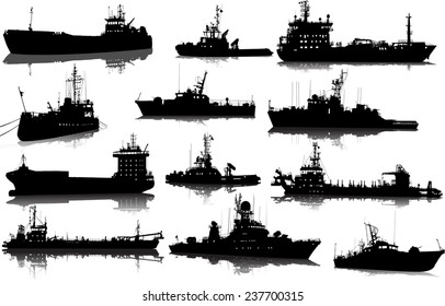 Vector set of 12 (twelve) silhouettes of sea towboat and the ships