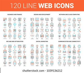 Vector set of 120 flat line web icons on following themes - business and finance, design and development, network and cloud computing, SEO and web optimization, digital marketing, communication