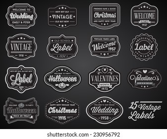 Vector Set of 15 of Vintage Retro Style Premium Design Labels Black and White
