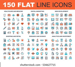 Vector set of 150 flat line web icons on following themes - healthcare and medicine, digital marketing, web development, shopping and retail, research and science, analytics and investment.