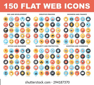 Vector set of 150 flat web icons with long shadow on following themes - SEO and development, creative process, business and finance, office and business, security and protection, shopping and commerce - Shutterstock ID 294187370