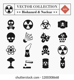 Vector set of 16 biohazard and nuclear toxicity icons isolated on white background