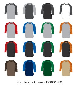 A vector set of 16 different colored baseball t-shirts.  Suitable for design mock-ups prior to silkscreen printing.