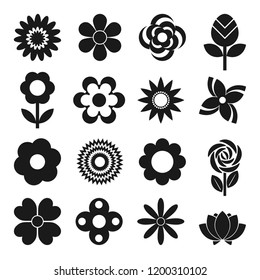Vector set of 16 different flowers icons isolated on white background