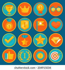 Vector set of 16 flat gamification icons - achievement badges in trendy style for apps and websites, involvement in participation in online business and education