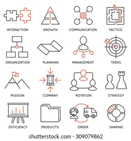 Vector set of 16 icons related to business management, strategy, career progress and business process. Mono line pictograms and infographics design elements - part 1