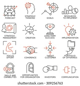 Vector set of 16 icons related to business management, strategy, career progress and business process. Mono line pictograms and infographics design elements - part 2
